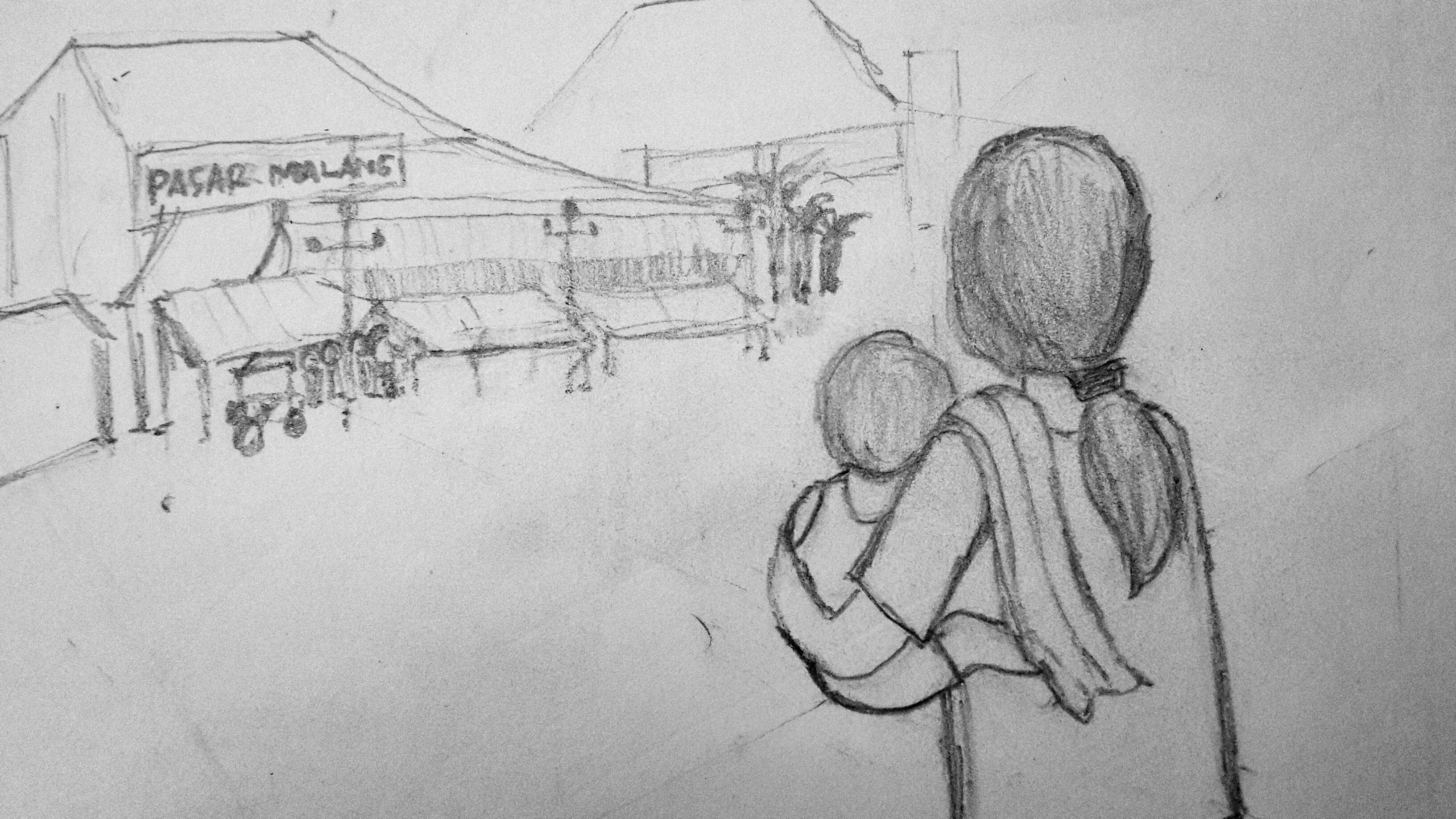 Gambar Sketsa Ilustrasi Sekolah Sobsketsa